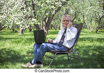 jardin, printemps, courant, usages, internet, homme affaires