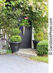 jardin, rose, portail