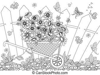 jardin, rustique, joli, brouette, y, fleurs, paysage
