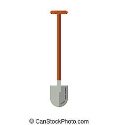 jardin, shovel., simple, outillage, arrière-plan., vecteur, blanc, icône