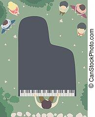 jardin, sommet, illustration, nuit, piano, vue