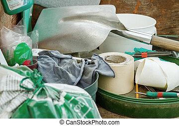 jardin, stockage, bricolage, désordre, encombré, outils, projets