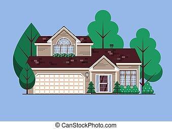 jardin, suburbain, magasin, arbres, famille, unique, deux, maison, ville, américain, house.
