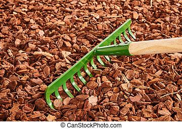 jardin, sur, râteau, bois, paillis, puce