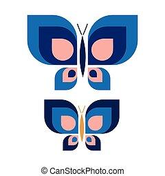 jardin, vecteur, papillon, agrafe, dessiné, main, ...