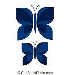 jardin, vecteur, sombre, papillon, agrafe, dessiné, main, ...