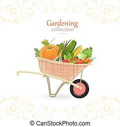 jardin, vendange, légumes, charrette, conception, ton