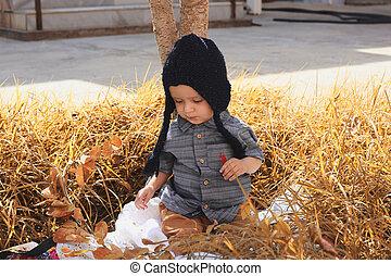 jardin, vieux, 2-3, enfant, portrait, automne, années