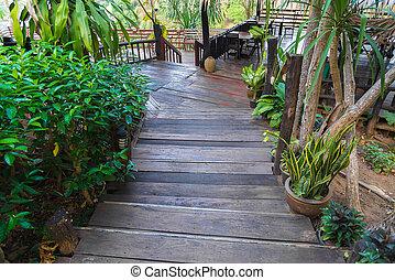 jardin, vieux, bois, foyer, sélectif, steps., escalier