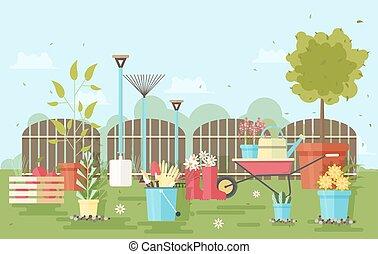 jardinage, barrière, râteau, outils, agriculture, arrosage, -, caoutchouc, équipement, brouette, jardin, boîte, bottes, fond, pruner, usines, pelle, illustration., bois, contre, trowel., vecteur, gants