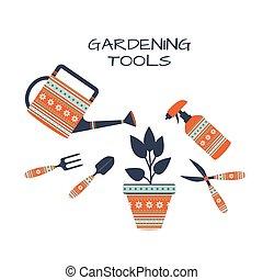 jardinage, blanc, outils, ensemble, fond