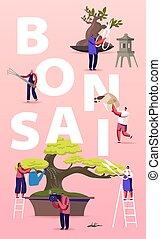 jardinage, bonsai, bannière, soucier, caractères, vecteur, ...