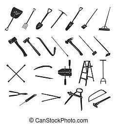 jardinage, -, collection, vecteur, silhouette, outils