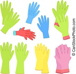 jardinage, coloré, collection, gants, conception, ton