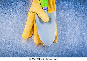 jardinage, conce, truelle, métallique, gants, fond, sécurité, main