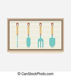 jardinage, conception, vecteur, illustration., équipement, boîte, plat
