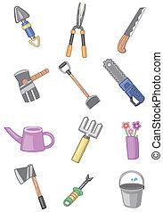 jardinage, dessin animé, icône