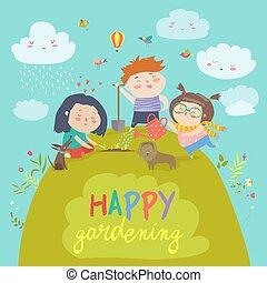 jardinage, enfants, heureux