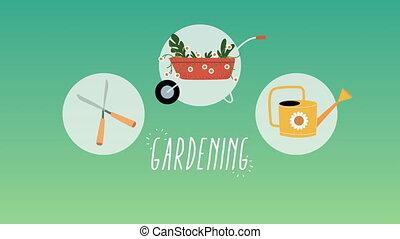 jardinage, ensemble, animation, icônes
