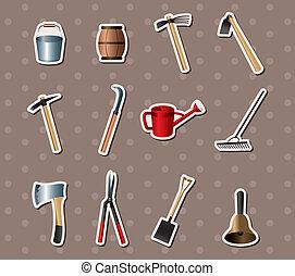 jardinage, ensemble, autocollants, outils