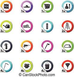 jardinage, ensemble, outils, collection, icônes