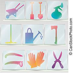 jardinage, ensemble, outils, icône