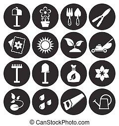 jardinage, ensemble, outils, icônes