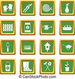 jardinage, ensemble, vert, icônes