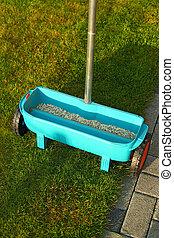 jardinage, fertilisation, -, pelouse