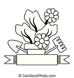 jardinage, fleurs, outils