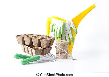 jardinage, fleurs, outils, jardin