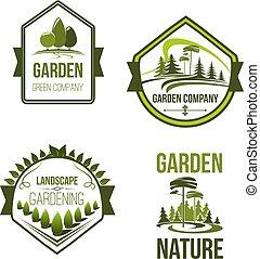 jardinage, icônes, compagnie, vecteur, ou, paysage