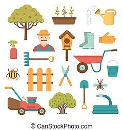 jardinage, icônes, isolé, vecteur, fond, blanc, Outils