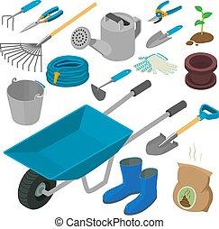 jardinage, icônes, outils, style, ensemble, isométrique