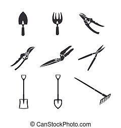 jardinage, isoler, blanc, outils