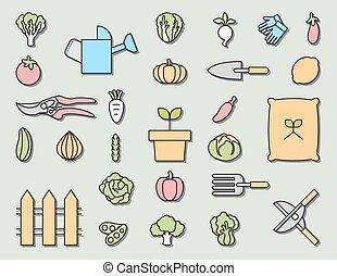 jardinage, jardin, équipement, vecteur, légume, icône