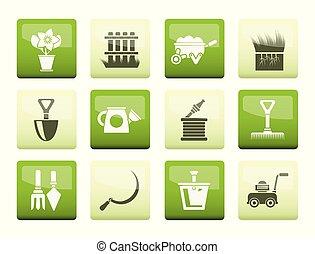 jardinage, jardin, icônes, couleur, sur, fond, outils