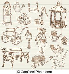 jardinage, -, main, vecteur, conception, album, dessiné, doodles