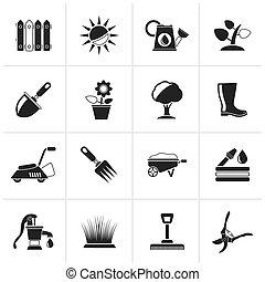 jardinage, objets, outils, icônes