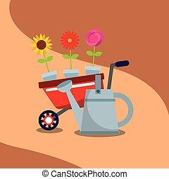 jardinage, pot, arrosoire, brouette, fleurs