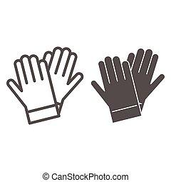 jardinage, signe, blanc, mobile, icône, solide, vecteur, design., gants, concept, concept, graphics., jardin, fond, ligne, toile, protection, icône, style, gant, contour, jardinier, caoutchouc
