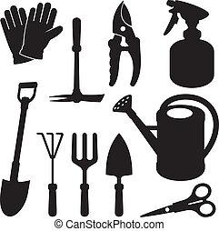 jardinage, silhouettes