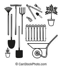 jardinage, style, griffonnage, outils, ensemble, divers