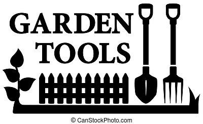 jardinage, symbole, outils