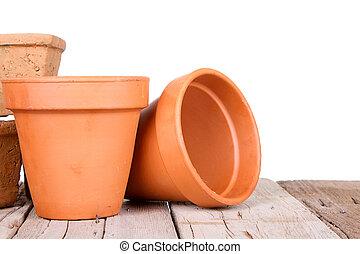 jardinage, terracotta pots, ou, argile