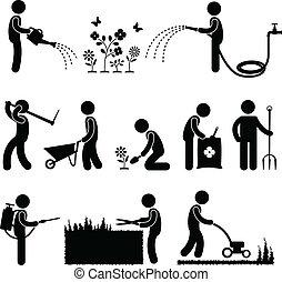 jardinage, travail, ouvrier, jardinier