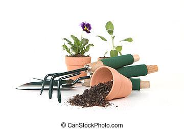 jardinagem, branca, ferramentas, fundo