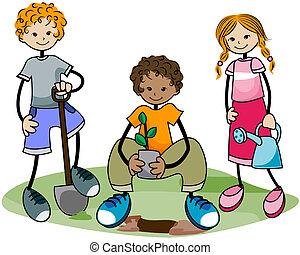 jardinagem, crianças