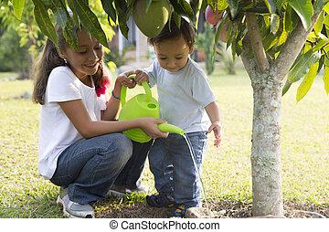 jardinagem, crianças, feliz