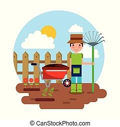jardinagem, cultive ancinho, personagem, tema, carrinho de mão, flores, jardineiro
